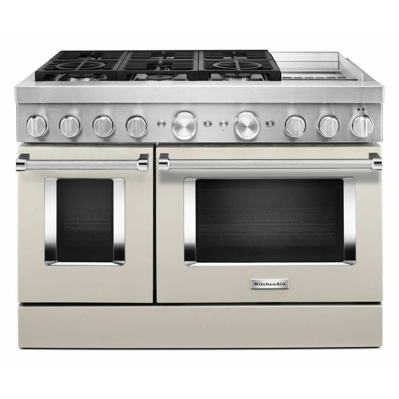 KitchenAid® 48'' Smart Commercial-Style Dual Fuel Range with Griddle - Milkshake