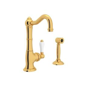 Cinquanta Single Hole Column Spout Kitchen Faucet with Sidespray - Italian Brass with White Porcelain Lever Handle