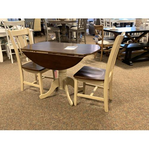 John Thomas Furniture - Round Drop Leaf Table with 2 Matching Chairs