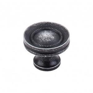 Button Faced Knob 1 1/4 Inch - Black Iron