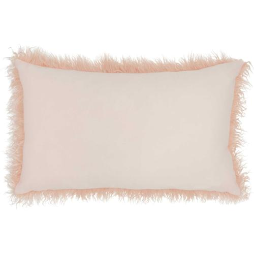 "Faux Fur Bj101 Rose 14"" X 24"" Lumbar Pillow"