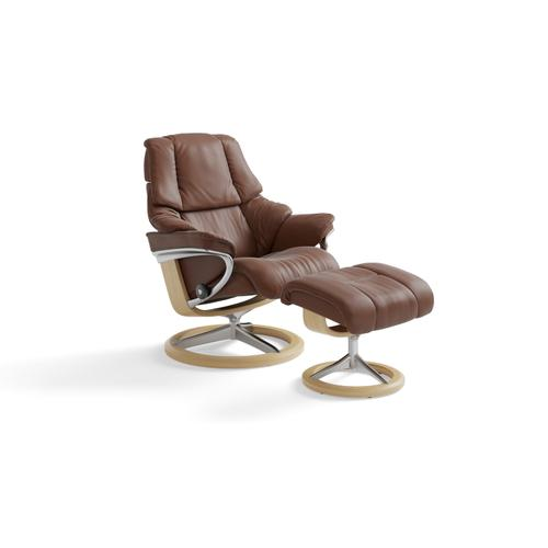 Stressless Reno Medium Signature Base Chair and Ottoman