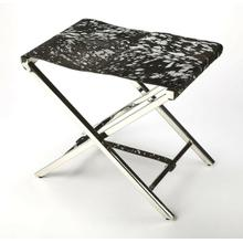 See Details - Sit back and relax with this silver and black finished hair on hide treasure. Cozy up in comfort in your modern living room, home office or any open space. Simply fold to close the high polish; stainless steel X frame to simply tuck away. To add luxury to your space leave open to enjoy the beauty of the Silver Leaf and Black Hair on Hide leather.