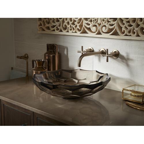 Translucent Sandalwood Vessel Faceted Glass Bathroom Sink
