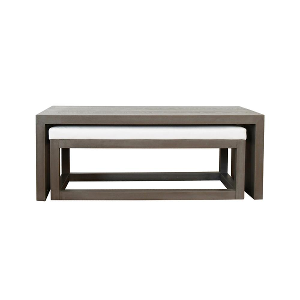 See Details - With Its Classic Waterfall Silhouette, the Kenneth Mid-century Modern, Rectangular Coffee Table and Nesting Bench Proves Yet Again That Less Is More. Clean, Architectural Lines Coupled With Eye-catching Oak Wood Grain Provide the Perfect Canvas for Our Smoke Grey Finish. simply Gorgeous.