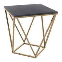 See Details - Verona Marble Side Table Black & Gold