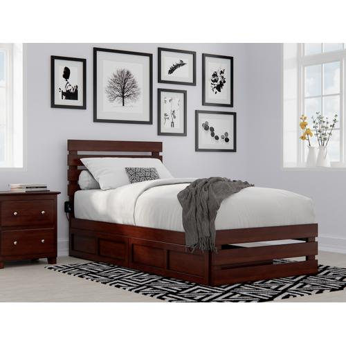 Atlantic Furniture - Oxford Twin Extra Long Bed with Footboard and USB Turbo Charger with 2 Extra Long Drawers in Walnut