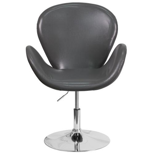 Alamont Furniture - Gray Leather Side Reception Chair with Adjustable Height Seat