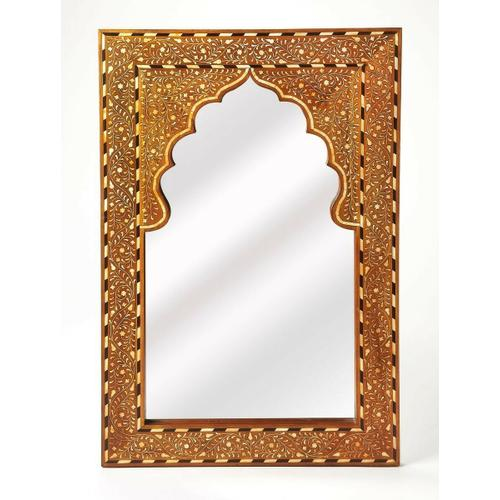 This rectangular wall mirror is an extraordinary feat of craftsmanship. Its wondrous botanical design with a mihrab inset frame is painstakingly created inlaying bone ™ within a merranti wood frame ™ one individual piece at a time. Its hand rubbed fin
