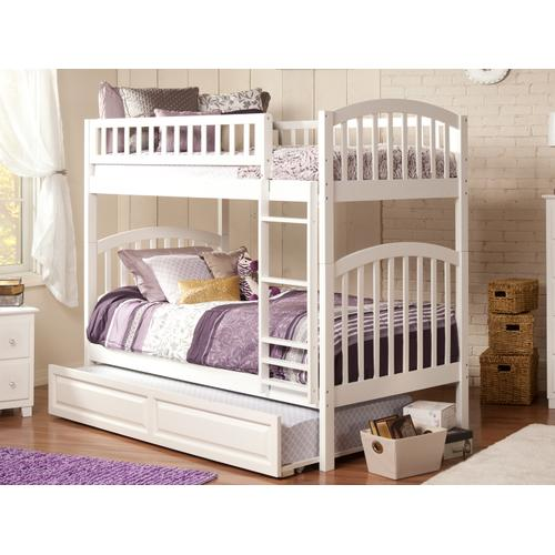 Richland Bunk Bed Twin over Twin with Raised Panel Trundle Bed in White
