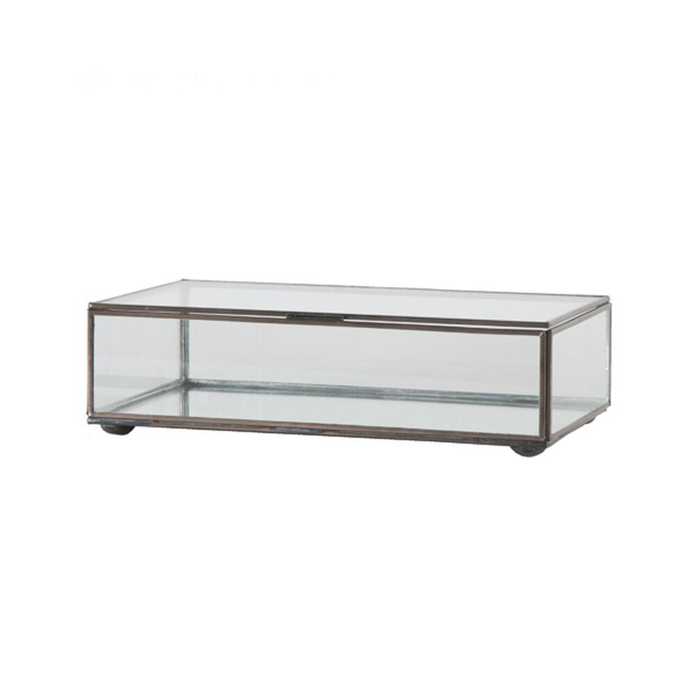 Create A Stunning Display With This Hinged, Rectangular Clear Glass Box With Antique Brass Edges. Perfect When Displayed as A Standalone Accent, or Group With Our Different Sized Glass Boxes (box Clr and Clrm) as A Showcase for Jewelry or Other Collectibles.