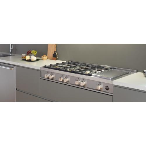 Product Image - 48 Gas Rangetop 6 brass burners + electric griddle Stainless Steel