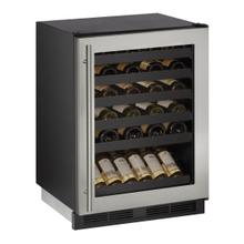 """See Details - 24"""" Wine Refrigerator With Stainless Frame Finish - CLEARANCE ITEM"""
