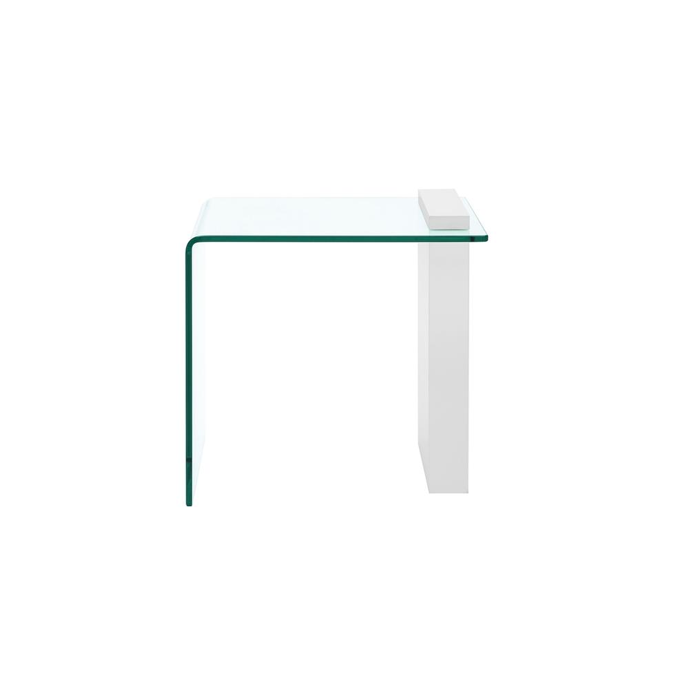 The Buono End Table In High Gloss White Lacquer With Clear Glass