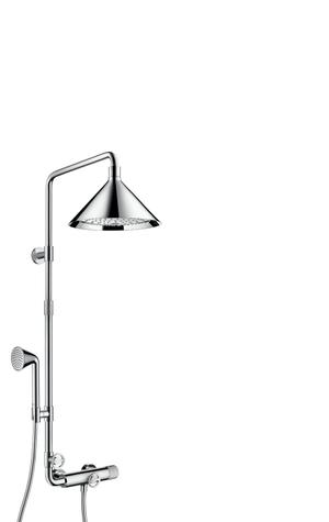 Chrome Showerpipe with thermostat and overhead shower 240 2jet Product Image