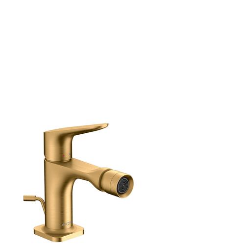 Brushed Brass Single lever bidet mixer with pop-up waste set
