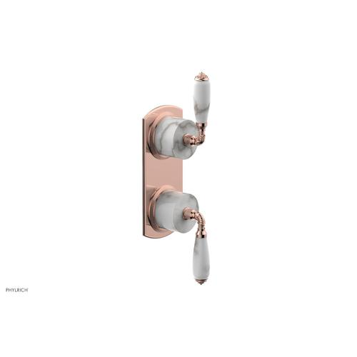 Phylrich - VALENCIA - Thermostatic Valve with Volume Control or Diverter, White Marble Lever Handles 4-453B - Polished Copper