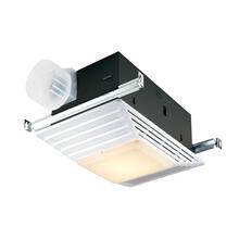 Broan® 70 CFM Heater/Ventilation Fan/Light, White Plastic Grille,100W Incandescent Light, 4.0 Sones