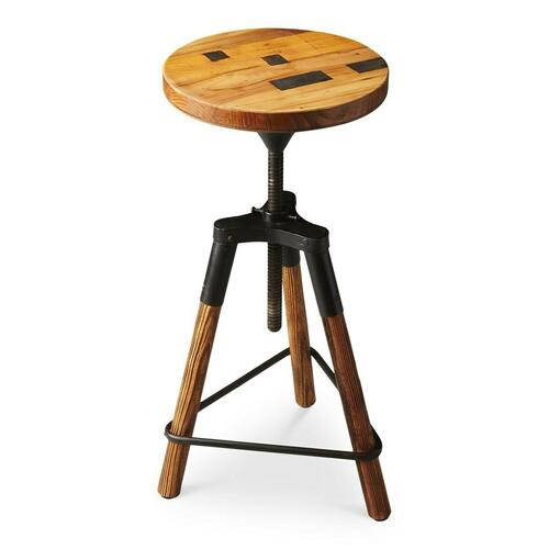 Butler Specialty Company - This delightful industrial-look barstool revolves and adjusts to the desired height, making it an ideal seat for all sizes and tables. With a recycled wood seat, its three-legged post design ensures stability and iron triangle base serves as a convenient foot-rest. Crafted entirely from iron and recycled wood solids.