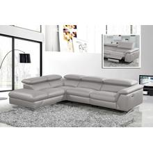 View Product - Divani Casa Maine - Modern Medium Grey Eco-Leather Left Facing Sectional Sofa with Recliner