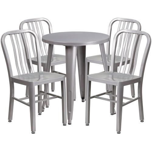 24'' Round Silver Metal Indoor-Outdoor Table Set with 4 Vertical Slat Back Chairs