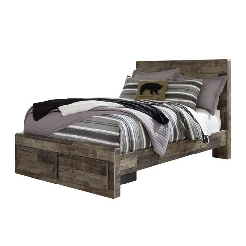 Derekson Full Bed W/Storage Footboard Multi Gray