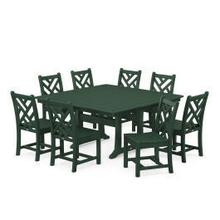 View Product - Chippendale 9-Piece Farmhouse Trestle Dining Set in Green