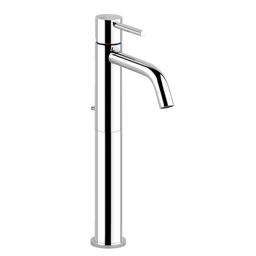 """Gessi - Tall single lever washbasin mixer with pop-up assembly Spout projection 5"""" Height 11-3/4"""" 1-1/4"""" pop up drain and flexible hoses with 3/8"""" connections Max flow rate 1"""