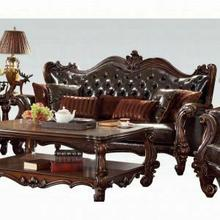 ACME Versailles Sofa w/7 Pillows - 52120A - 2-Tone Dark Brown PU & Cherry Oak