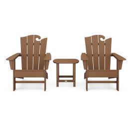 Polywood Furnishings - Wave 3-Piece Adirondack Set with The Ocean Chair in Teak