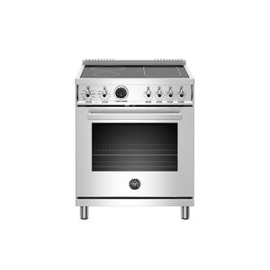 Bertazzoni30 inch Induction Range, 4 Heating Zones, Electric Self-Clean Oven Stainless Steel