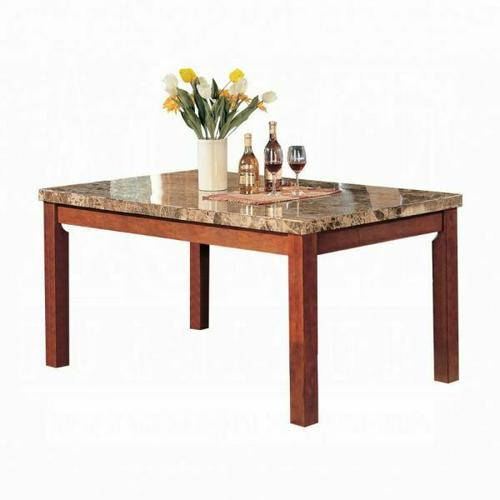 ACME Bologna Dining Table - 07045 - Brown Marble & Brown Cherry