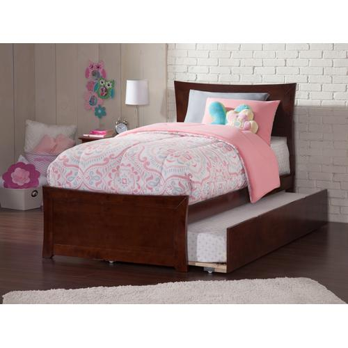 Metro Twin Bed with Matching Foot Board with Urban Trundle Bed in Walnut