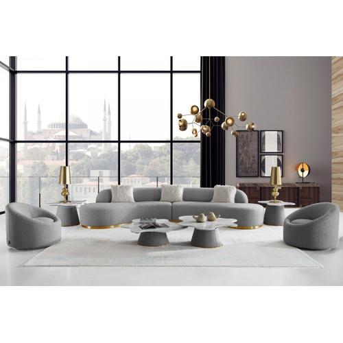Gallery - Divani Casa Frontier - Glam Grey Fabric Sectional Sofa