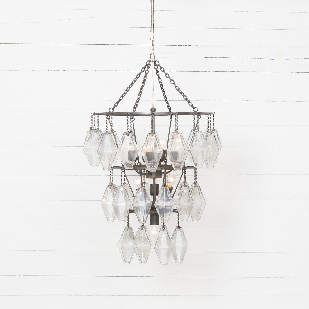 Antiqued Iron Finish Adeline Small Round Chandelier