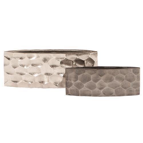 Howard Elliott - Hammered Aluminum Elongated Vase Graphite, Small