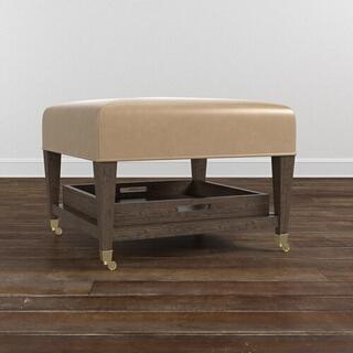 See Details - Kara Leather Ottoman w/Trays