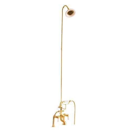 Tub/Shower Converto Unit - Elephant Spout, Riser, Showerhead - Lever / Polished Brass