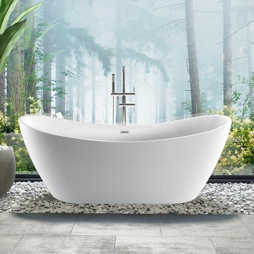 """Nyx 72"""" Acrylic Double Slipper Tub with Integral Drain and Overflow - Polished Brass Drain and Overflow"""
