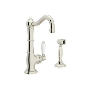 Cinquanta Single Hole Column Spout Kitchen Faucet with Sidespray - Polished Nickel with White Porcelain Lever Handle