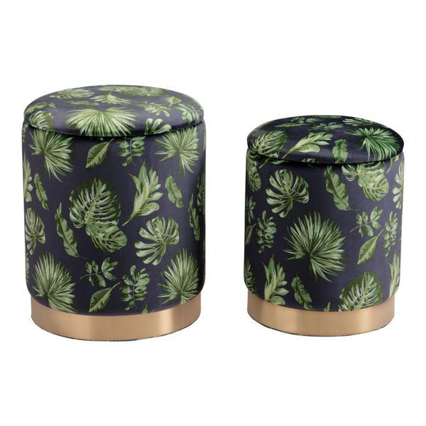 See Details - Benson Ottoman Storage Set Green