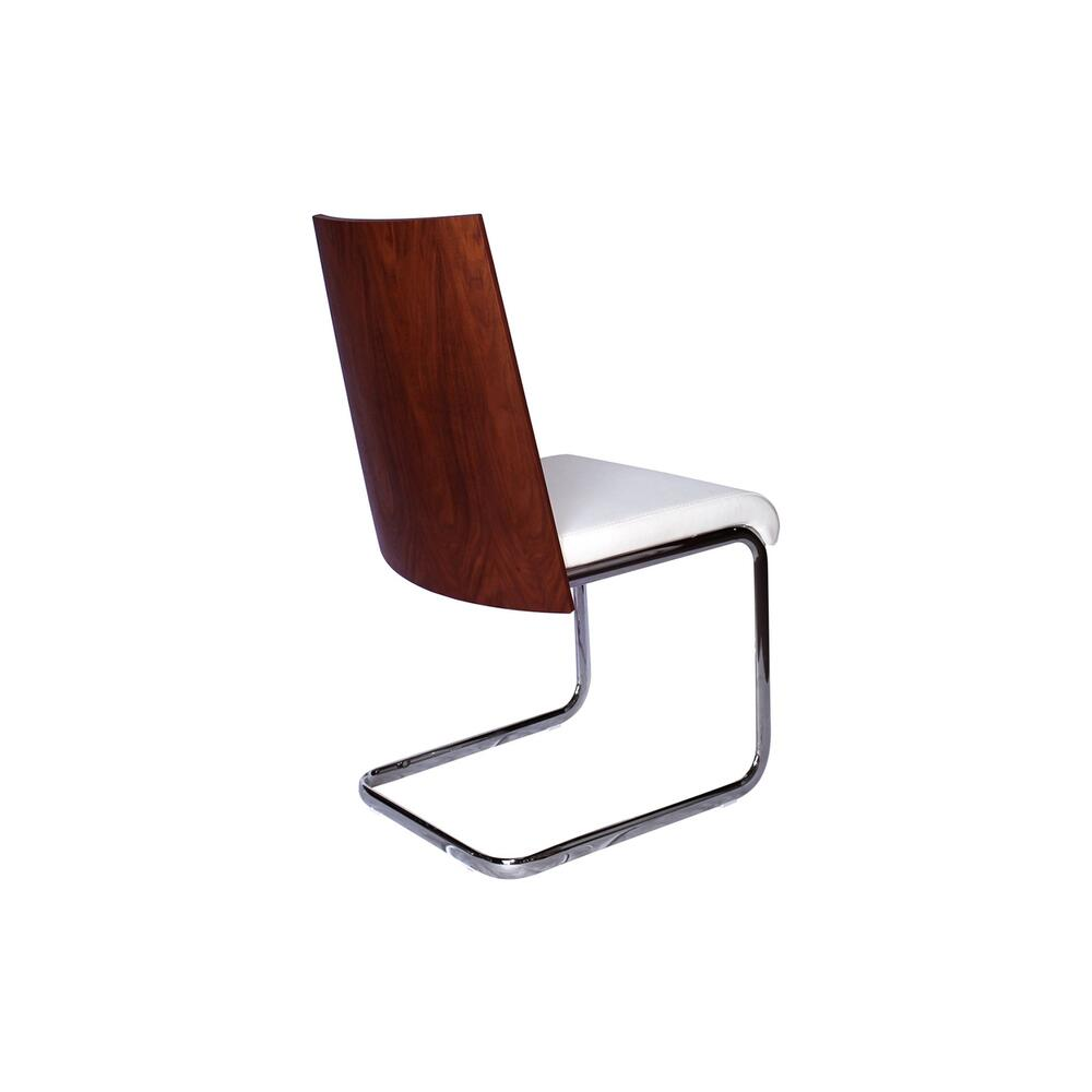 The Modelo Dining Chair In White Pu-leather And Walnut Veneer Back With Stainless Steel Base