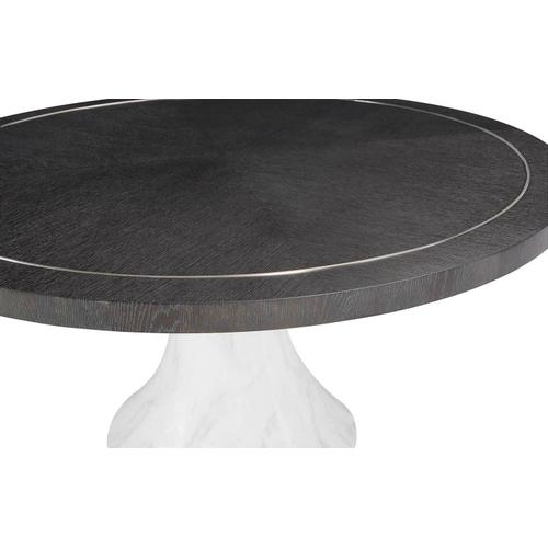 Decorage Round Dining Table in Cerused Mink (380), Hand-Painted Marble (380)