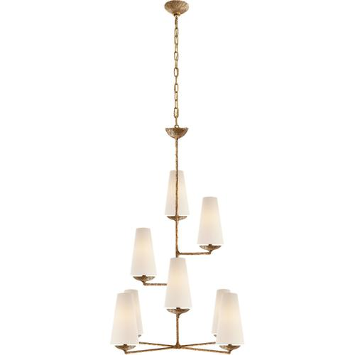 AERIN Fontaine 8 Light 34 inch Gilded Plaster Vertical Chandelier Ceiling Light