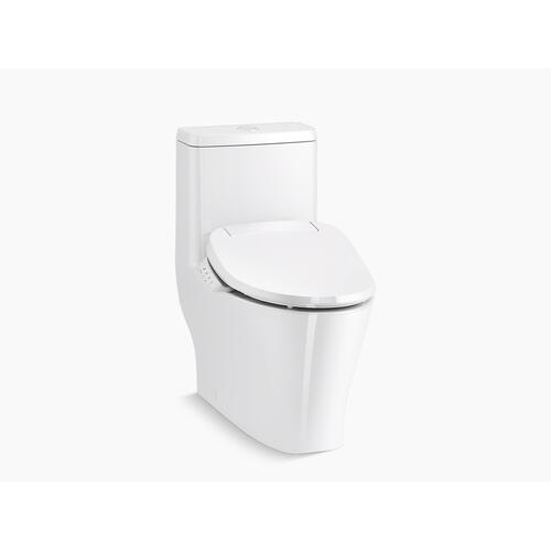 White One-piece Compact Elongated Dual-flush Toilet With Skirted Trapway and Hidden Cord Design