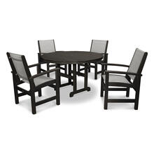 Black & Metallic Coastal 5-Piece Dining Set