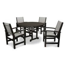 Black & Metallic Coastal 5-Piece Dining Set