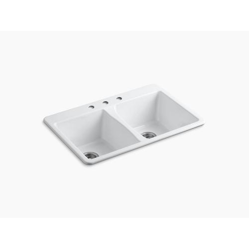 "White 33"" X 22"" X 9-5/8"" Top-mount Double-equal Bowl Kitchen Sink"