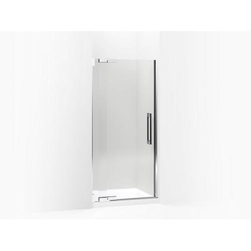 "Crystal Clear Glass With Bright Polished Silver Frame Pivot Shower Door, 72-1/4"" H X 36-1/4 - 38-3/4"" W, With 1/2"" Thick Crystal Clear Glass"