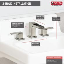 Stainless Two Handle Widespread Channel Bathroom Faucet